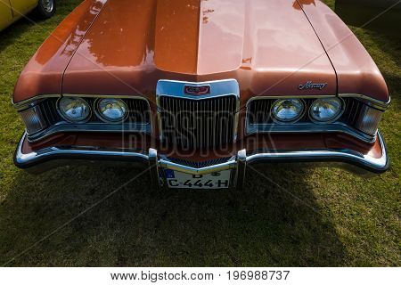 PAAREN IM GLIEN GERMANY - MAY 23 2015: Fragment of a personal luxury car Mercury Cougar XR-7. The oldtimer show in MAFZ.
