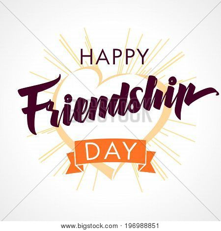 Happy Friendship day vector typographic design, inspirational quote about friendship. Happy Friendship Day heart and beams light greeting card