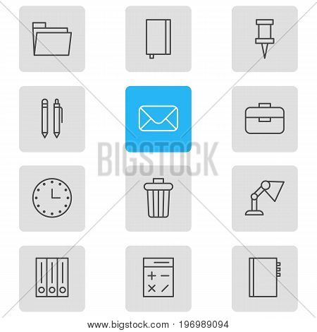 Editable Pack Of Garbage Container, Dossier, Archive And Other Elements.  Vector Illustration Of 12 Instruments Icons.