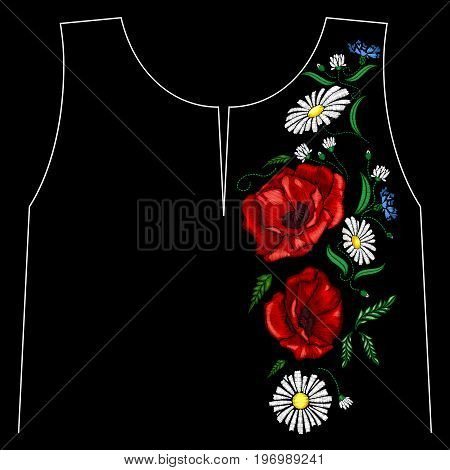 Embroidery poppies flowers. Patch for women's, girls' T-shirts. Vector illustration. Graphic tee.
