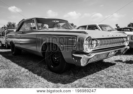 PAAREN IM GLIEN GERMANY - MAY 23 2015: Full-size car Dodge Polara 1964. Black and white. The oldtimer show in MAFZ.