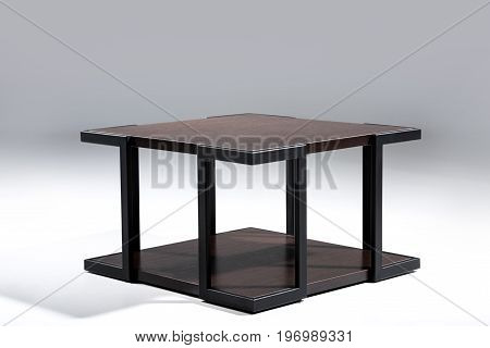 Stylish Table With Brown Wooden Top And Bottom With Black Metallic Legs