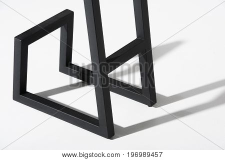 Cropped Image Of Stylish Barstool Black Metallic Legs Standing On White