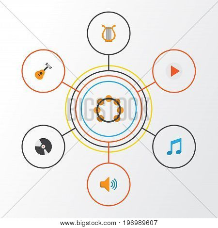 Audio Flat Icons Set. Collection Of Dj, Button, Sonata And Other Elements