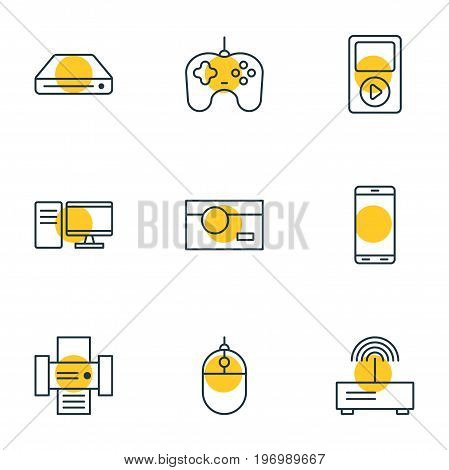 Editable Pack Of Joypad, Memory Storage, PC And Other Elements.  Vector Illustration Of 9 Device Icons.