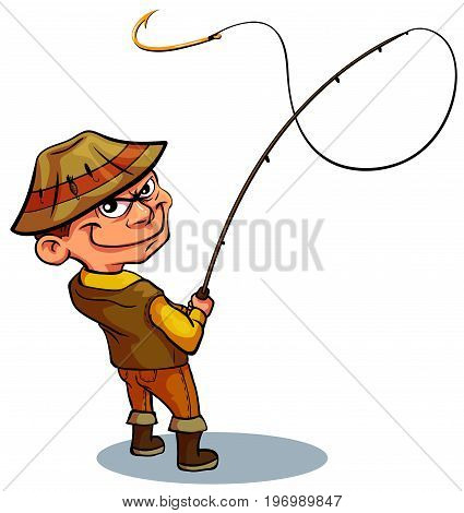 The fisherman grins at the bait. An empty hook for your presentation. Amateur Fisherman In Khaki Clothes Seeing The Fish To Take The Bait Cartoon Vector Character And His Hobby Illustration