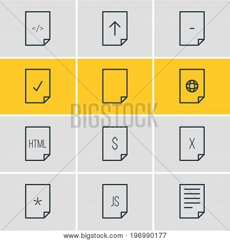Editable Pack Of File, Internet, Remove And Other Elements.  Vector Illustration Of 12 File Icons.