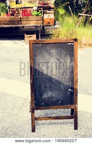 Blank Chalk Black Board at Farmer Market