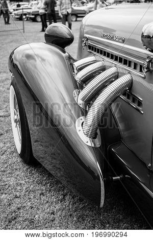 PAAREN IM GLIEN GERMANY - MAY 23 2015: Fragment of vintage car Auburn 852 Speedster. Black and white. The oldtimer show in MAFZ.