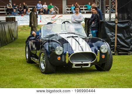 PAAREN IM GLIEN GERMANY - MAY 23 2015: Vintage car Ford / Shelby AC Cobra. The oldtimer show in MAFZ.