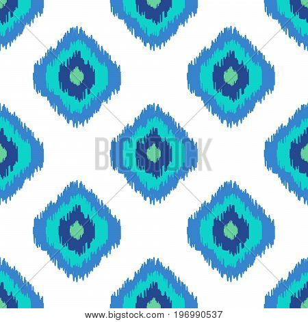 Ikat geometric seamless pattern. Turquoise blue color collection. Indonesian textile fabric tie-dye technique inspiration. Rhombus and drop shapes.