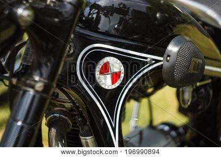 PAAREN IM GLIEN GERMANY - MAY 23 2015: Detail of motorcycle EMW (Eisenacher Motorenwerkes) R35. The oldtimer show in MAFZ.