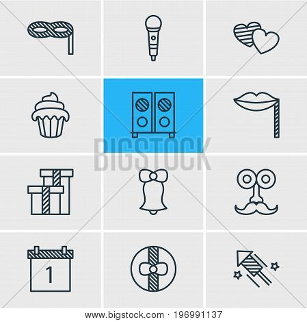 Editable Pack Of Soul, Speaker, Date Block And Other Elements.  Vector Illustration Of 12 Banquet Icons.