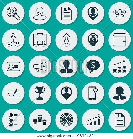 Hr Icons Set. Collection Of Job Applicants, Money, Navigation And Other Elements