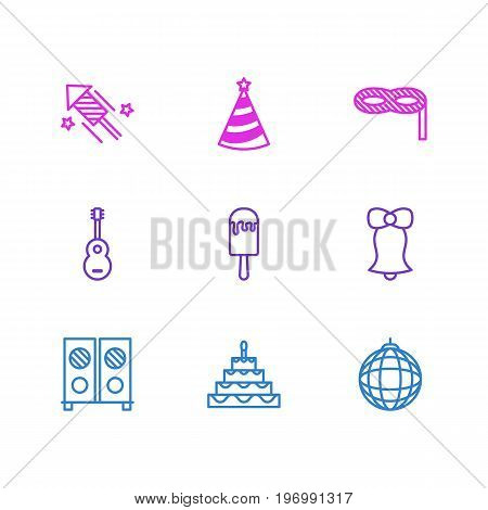 Editable Pack Of Speaker, Jingle, Cap And Other Elements.  Vector Illustration Of 9 Party Icons.