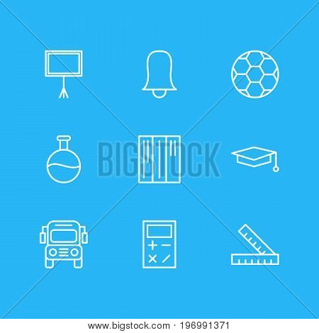 Editable Pack Of Meter, Calculate, Tube And Other Elements.  Vector Illustration Of 9 Education Icons.