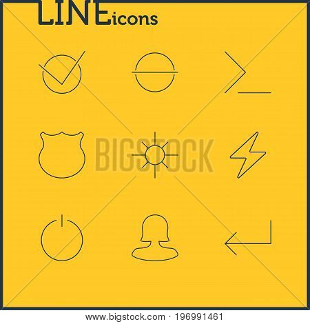 Editable Pack Of Switch Off, Startup, Bolt And Other Elements.  Vector Illustration Of 9 User Icons.
