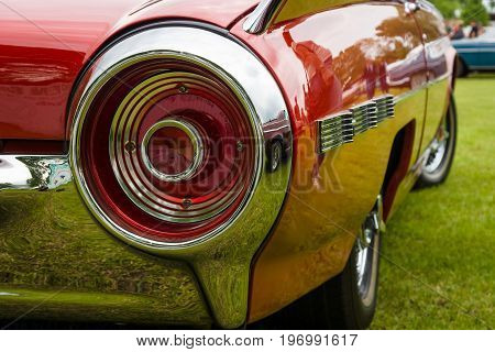 PAAREN IM GLIEN GERMANY - MAY 23 2015: Stoplight of a personal luxury car Ford Thunderbird (third generation). The oldtimer show in MAFZ.