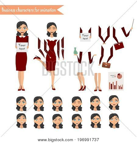 Pupil character for your scenes. Parts of body template for design work and animation