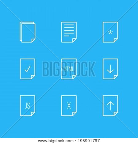 Editable Pack Of Upload, Download, Script And Other Elements.  Vector Illustration Of 9 Paper Icons.