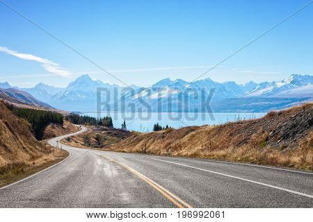 Scenic Road to Mount Cook National Park (near  Lake Pukaki) , South Island, New Zealand