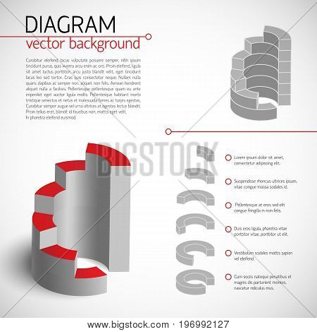 Business gray diagram template with text fields and description of each selected piece vector illustration