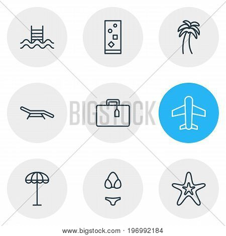 Editable Pack Of Longue, Umbrella, Airplane And Other Elements.  Vector Illustration Of 9 Summer Icons.