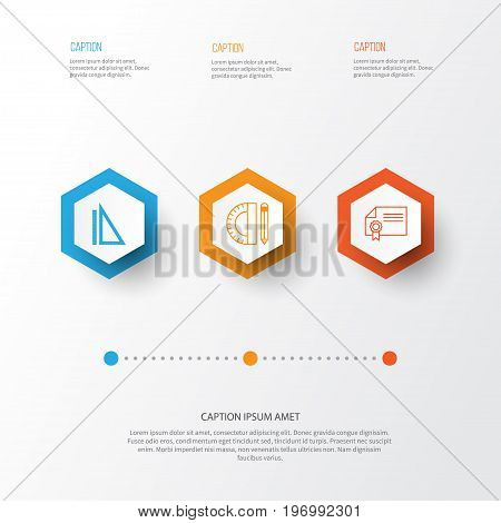 Education Icons Set. Collection Of Education Tools, Diploma, Measurement And Other Elements