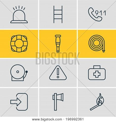 Editable Pack Of Siren, Hotline, Ax And Other Elements.  Vector Illustration Of 12 Necessity Icons.