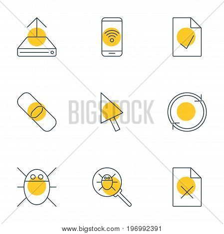 Editable Pack Of Refresh, Pointer, Checked Note And Other Elements.  Vector Illustration Of 9 Network Icons.