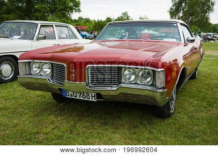 PAAREN IM GLIEN GERMANY - MAY 23 2015: Full-size car Oldsmobile 88 Delmont 1968. The oldtimer show in MAFZ.