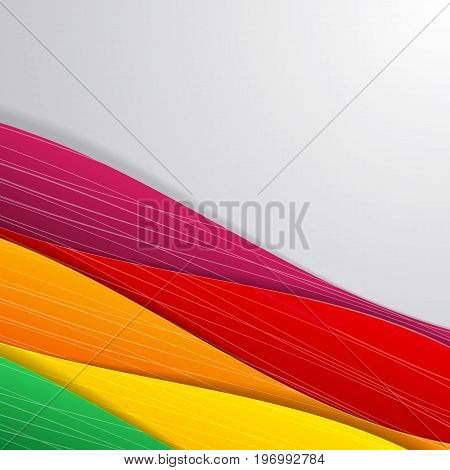 Colorful art abstraction with ribbons or waves in lower right corner and light gray background vector illustration
