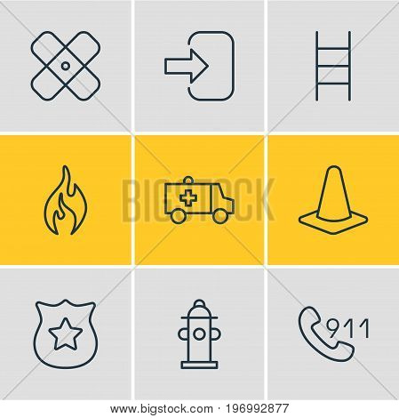 Editable Pack Of Hotline, Door, Taper And Other Elements.  Vector Illustration Of 9 Emergency Icons.