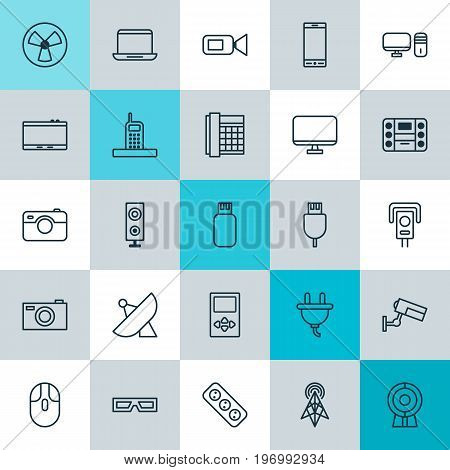 Icons Set. Collection Of Cctv, Usb, Socket And Other Elements