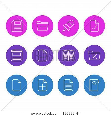 Editable Pack Of Minus, Delete, Note And Other Elements.  Vector Illustration Of 12 Bureau Icons.