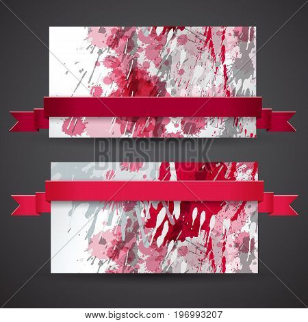 Two horizontal vinous abstract banner set with ribbons all in one color vector illustration