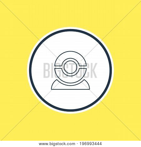 Beautiful Laptop Element Also Can Be Used As Web Camera Element.  Vector Illustration Of Internet Discussing Outline.