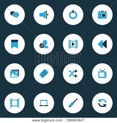 Music Colorful Icons Set. Collection Of Composer, Bullhorn, Flag And Other Elements