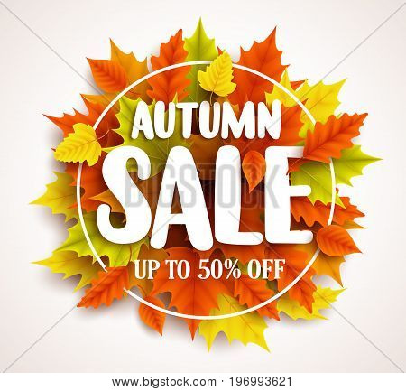 Autumn sale  vector banner design with text in colorful fall leaves and circle frame in a background for seasonal marketing discount promotion. Vector illustration.