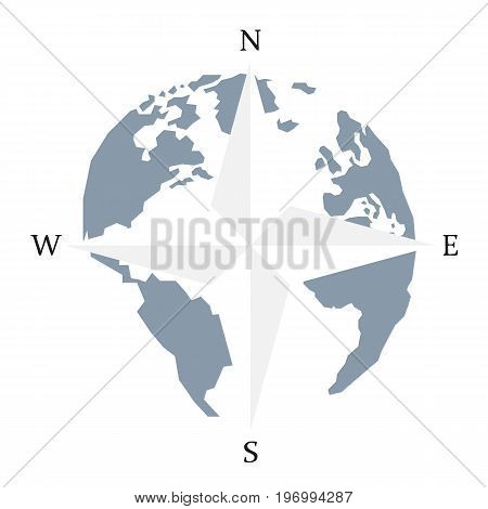 Globe world map compass arrow nautical travel. Wind Rose Compass vector icon. America Europe Atlantic Ocean Lowpoly triangular. Vector illustration. White background. Eps10.