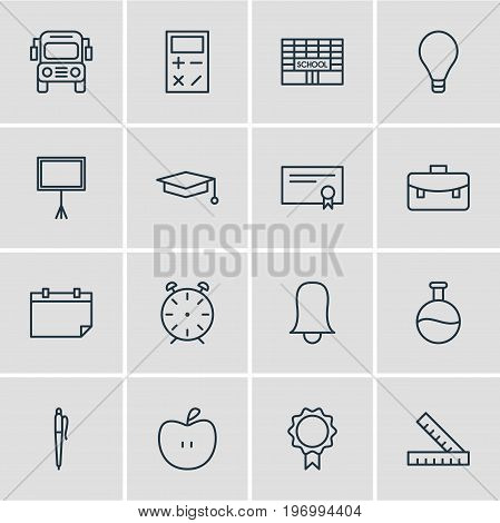 Editable Pack Of Clock, Car, Date And Other Elements.  Vector Illustration Of 16 Education Icons.