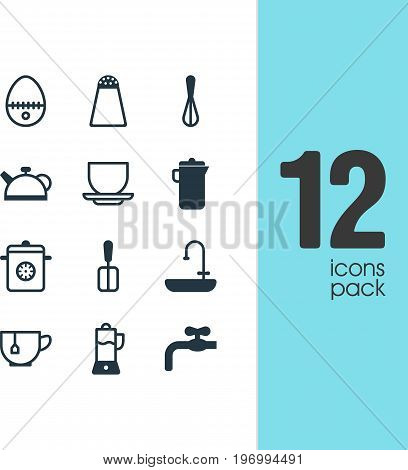 Editable Pack Of Steamer, Washstand, Mug Elements.  Vector Illustration Of 12 Cooking Icons.