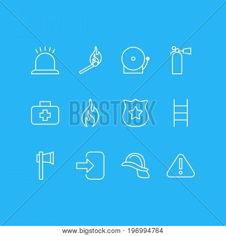 Editable Pack Of Door, Safety, Hardhat And Other Elements.  Vector Illustration Of 12 Necessity Icons.