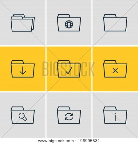 Editable Pack Of Done, Remove, Dossier And Other Elements.  Vector Illustration Of 9 Folder Icons.