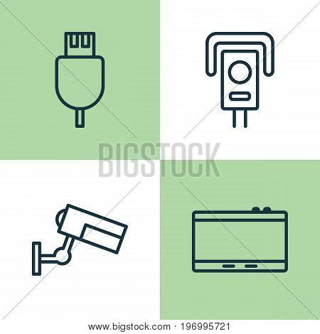 Device Icons Set. Collection Of Cctv, Surveillance, Gadget And Other Elements