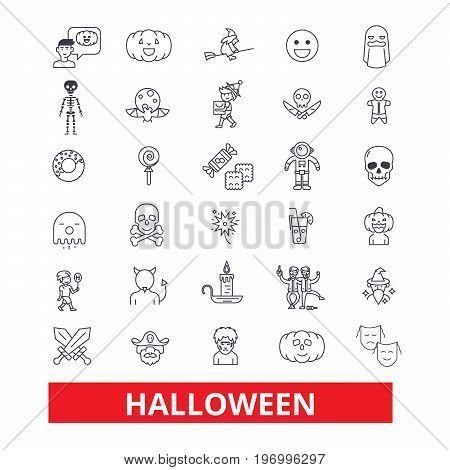 Halloween, celebration, holiday, horror, pumpkin, traditional, autumn, dayoff, pumpkin line icons. Editable strokes. Flat design vector illustration symbol concept. Linear signs isolated on white background
