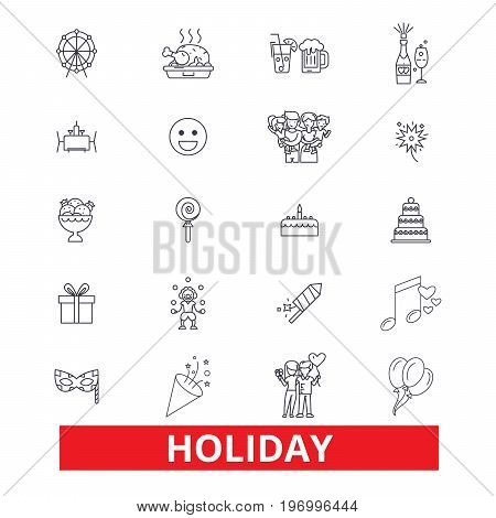 Holidays, break, festival, vacation, weekend, relaxation, day off, fiesta, party line icons. Editable strokes. Flat design vector illustration symbol concept. Linear signs isolated on white background