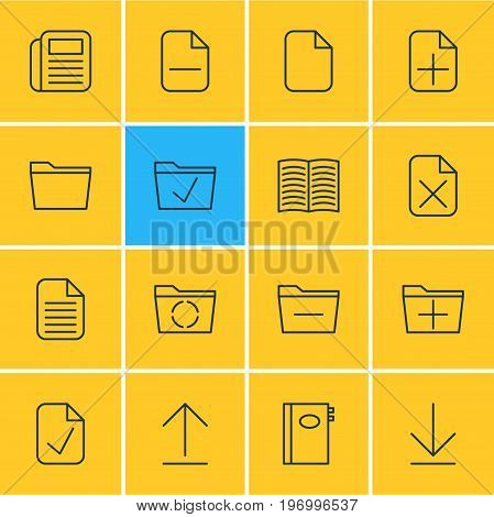 Editable Pack Of Book, Add, Blank And Other Elements.  Vector Illustration Of 16 Office Icons.