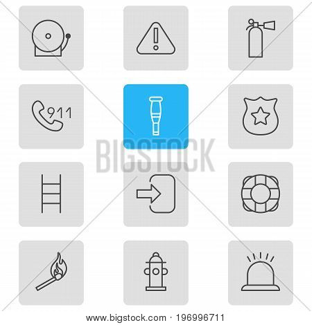 Editable Pack Of Stairs, Door, Safety And Other Elements.  Vector Illustration Of 12 Emergency Icons.