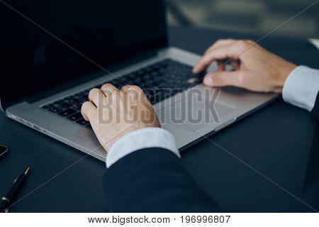 Hands, work, office, laptop, computer, business man.
